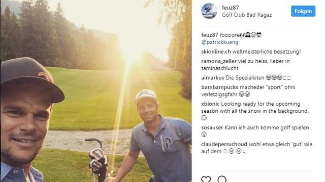 Auf dem Golfplatz: Patrick Küng und Beat Feuz.