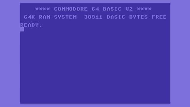 Der Blau in Hellblau gehaltene Startbildschirm des Commodore 64