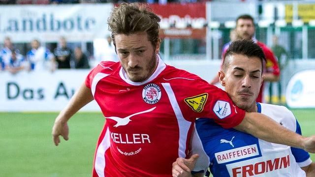 Jonas Elmer (links, bereits im Trikot des FC Winterthur) wechselt in die Challenge League.