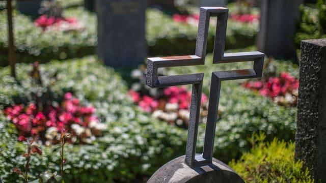 Blick über ein metallenes Grabkreuz auf ein Grab mit roten Blumen