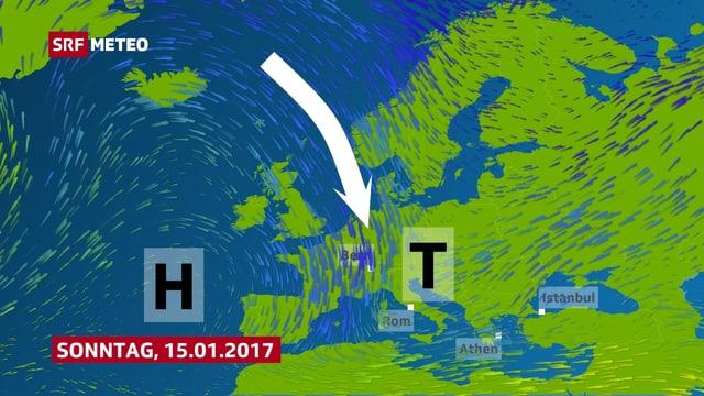 Das Hoch über dem Atlantik bleibt am Wochenende und in der neuen bestehen. Mit einem Pfeil wird verdeutlicht, wie kalte Luft von Nordeuropa in den Süden zieht.