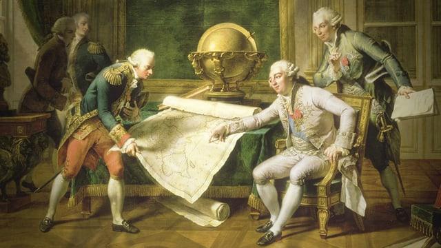 Eine Zeichnung zeigt 5 Männer in einem Raum, die eine grosse Karte studieren.