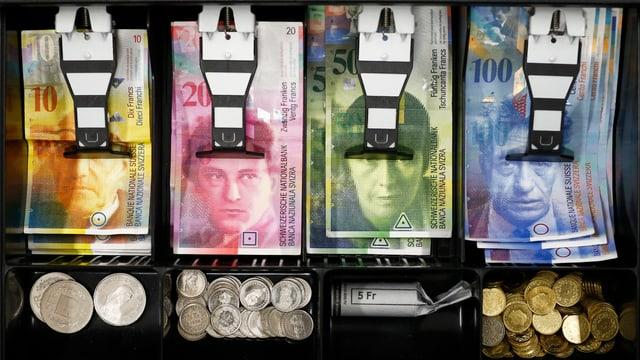 Blick in eine Registrierkasse eines Geschäfts mit Noten und Münz.