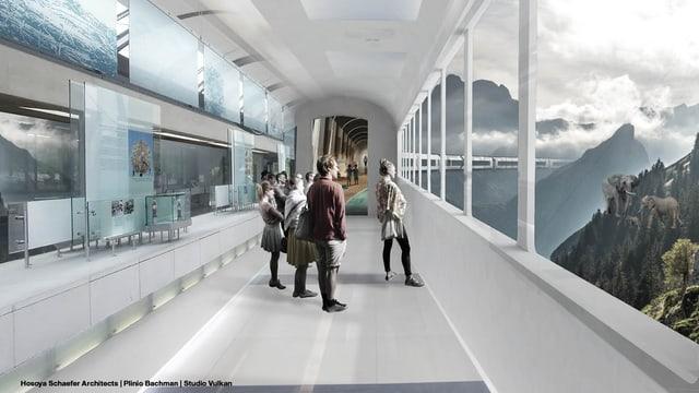 Visualisierung eines Zuges, mit grossen Glasscheiben, Panorama Ostschweizer Alpen und Zugbesuchern.