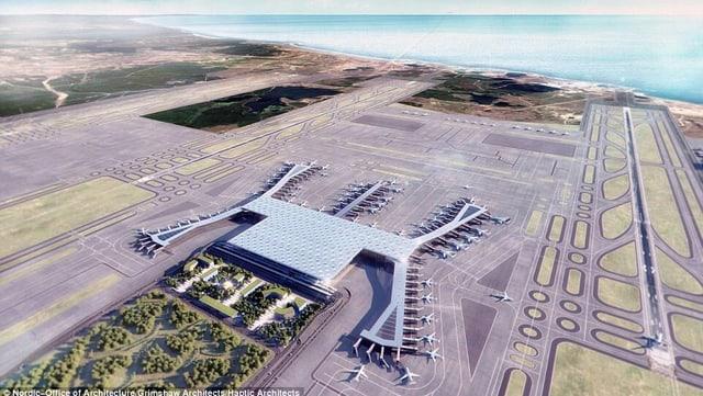Visualisierung neuer Flughafen Flugbild