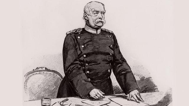 Der Politiker Otto von Bismarck auf einem Holzstich von 1898.