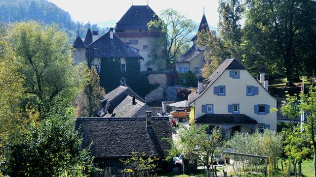 Das Schloss Wildenstein mit dem Gutshof im Vordergrund