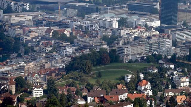 Luftaufnahme der Stadt Zug