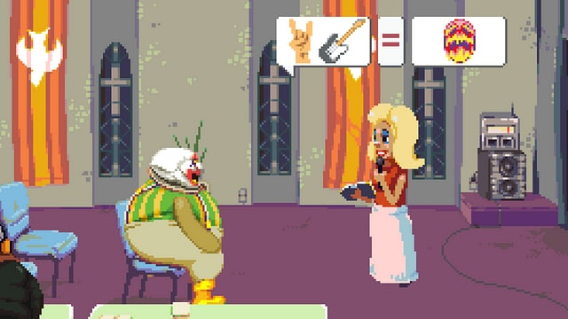 Ein Clown stitzt auf einem Stuhl, eine Frau redet in Bildern mit ihm.