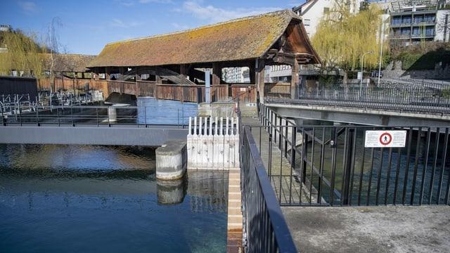 Eine Bibertreppe beim Wasserkraftwerk beim Luzerner Mühleplatz.