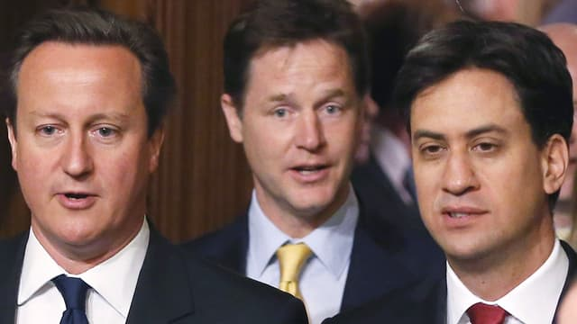 Portrait mit David Cameron, Ed Miliband und Nick Clegg.