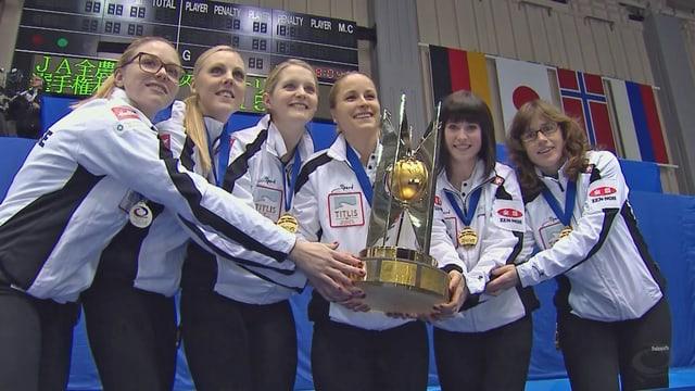 Die Schweizerinnen posieren mit dem WM-Pokal.