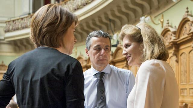 Ignazio Cassis, Petra Gössi und Doris Fiala.