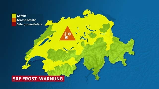 Karte der Schweiz. Weite Teile sind gelb markiert, was die Gefahr von Bodenfrost anzeigt.