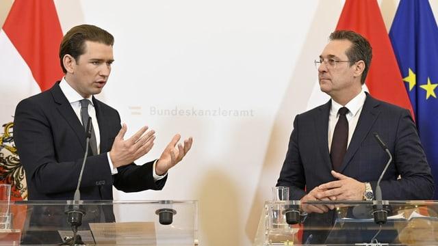 Kurz und Vizekanzler Strache an einer Sitzung des Ministerrats im Bundeskanzleramt am 3. April 2019.