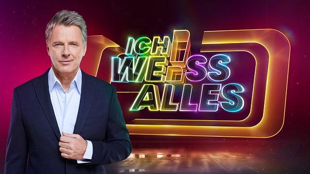 Jörg Pilawa und das Logo von ICH WEISS ALLES