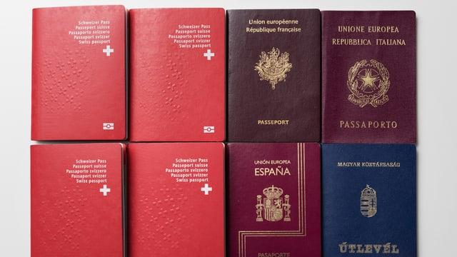Quatter passports svizzers e quatter passports europeics.