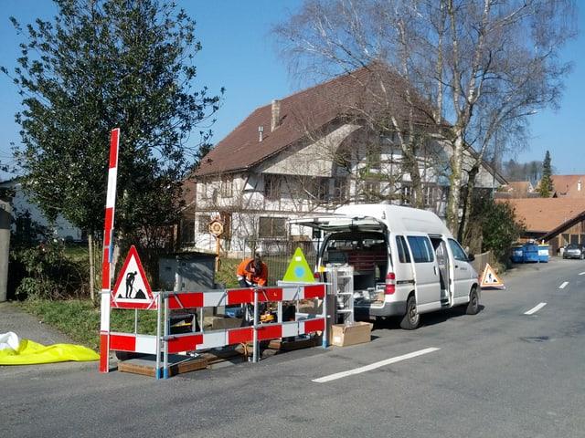 Arbeiten an den Leitungen der Swisscom.