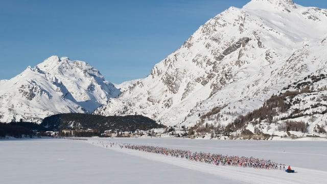 Das Feld am 47. Engadin Skimarathon auf dem Weg Richtung S-chanf.