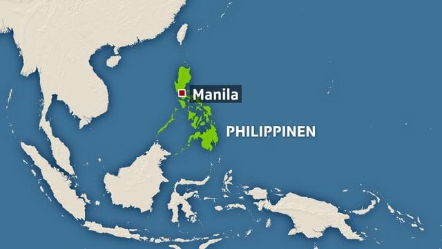 Kartenausschnitt mit Philippinen und der Hauptstadt Manila.