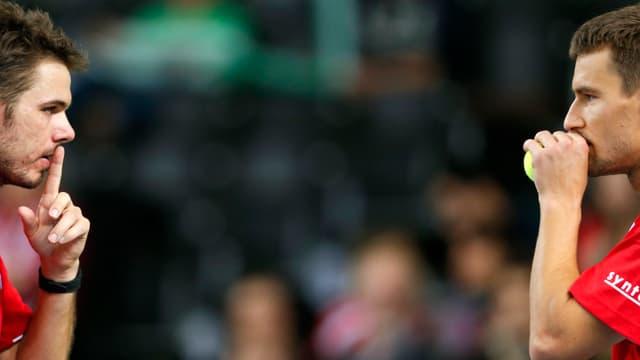 Die Taktik von Stanislas Wawrinka und Marco Chiudinelli wäre im Davis Cup beinahe aufgegangen.