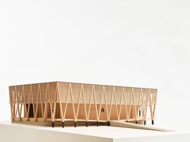 Illustration von einem Holzbau, Viereck