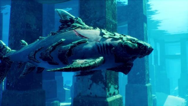 Ein Haifisch mit einer Art antiker Panzerung.