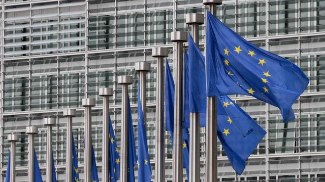 EU-Flaggen vor dem europäischen Parlament in Brüssel.