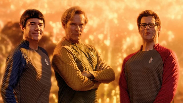 Herbig, Tramitz und Kavanian posieren als Raumschiff-Crew