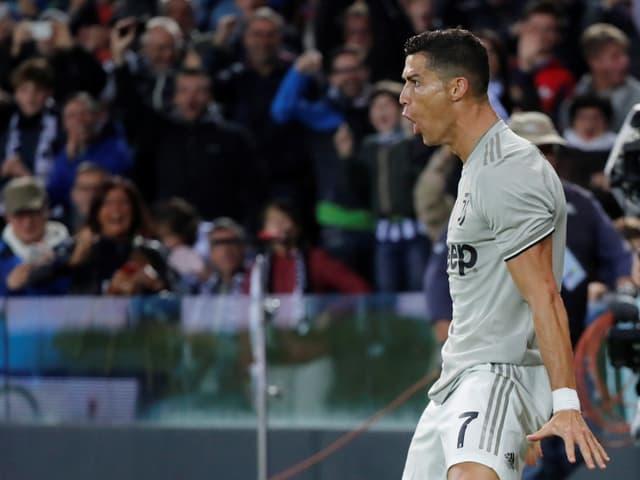 Cristiano Ronaldo schreit seine Freude heraus.