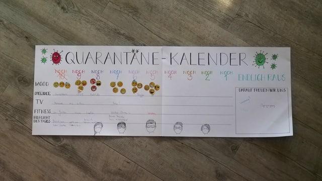 Ein Quarantäne-Kalender. Er ist nur bis zum fünften Tag ausgefüllt.