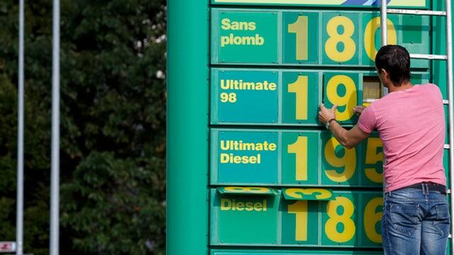 Preisschilder einer Tankstelle werden ausgewechselt