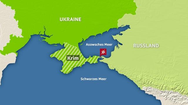 Karte auf der die Ukraine, Russland und die Halbinsel Krim eingezeichnet sind.