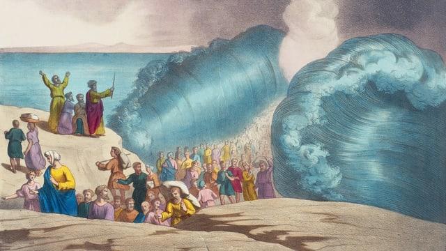 Eine Illustration zeigt Moses, der das Meer teilt.