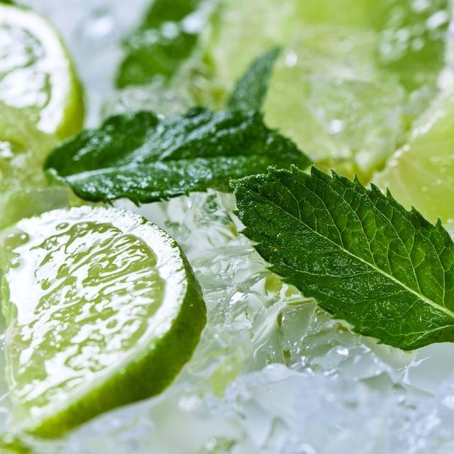 Minzblätter und Limettenscheiben auf Eis