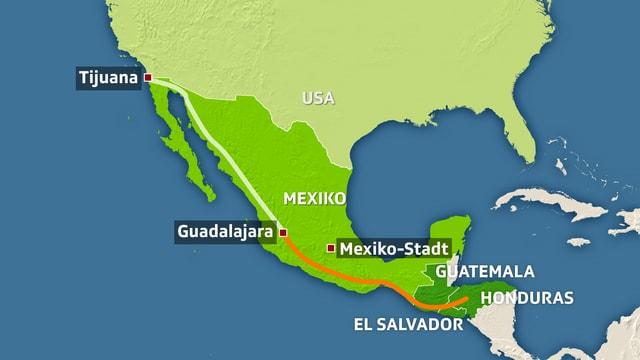 Geografische Karte Mexiko und die USA