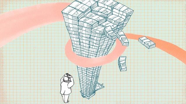 Zeichnung: Ein riesiger Stapel aus Geldscheinen von oben. eine kleine Figur schaut mit Fernglas am Turm hoch.