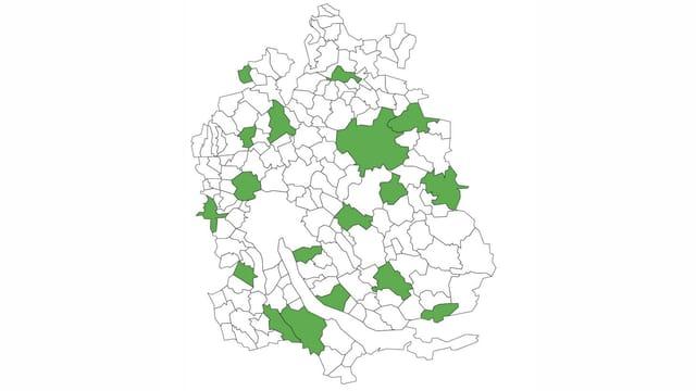 Karte des Kantons Zürich, grün gefärbt die Gemeinden der Kerngruppe