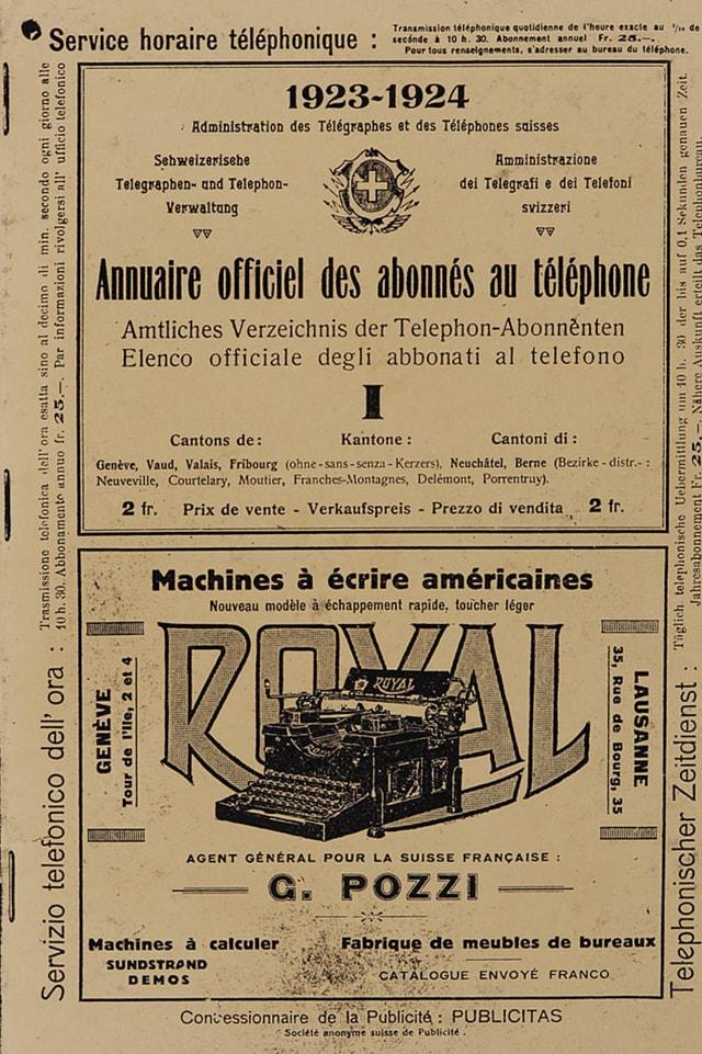 Titelblatt eines alten Telefonbuchs.