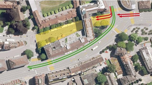 Flubbild des Pilatusplatzes. Als Visualisierung bereits mit der geplanten Verkehrsführung.