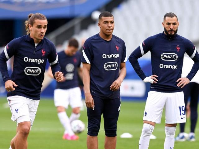 Antoine Griezmann, Kylian Mbappé und Karim Benzema.