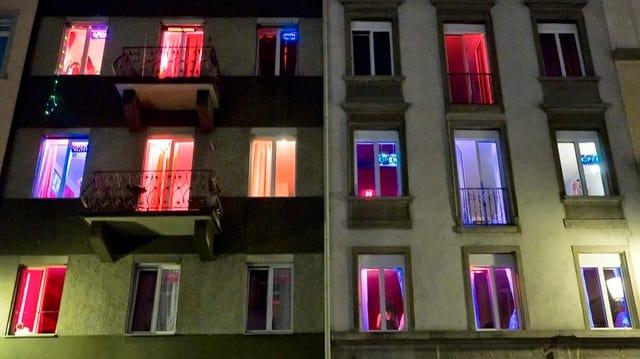 Beleuchtete Fenster im Zürcher Niederdorf