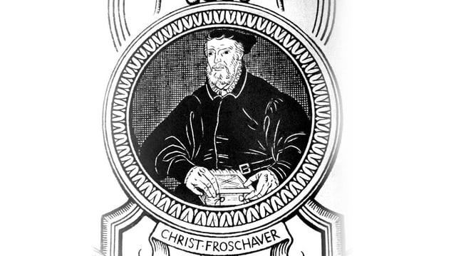 Ein schwarzweisses Wandbild mit einem älteren Mann mit Bart in schwarzem Gewand.