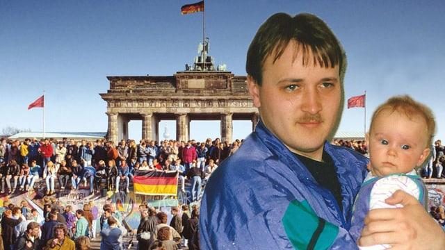 DDR-Mann Tino mit Baby. Seine Erinnerungen an den Mauerfall sind omnipräsent.