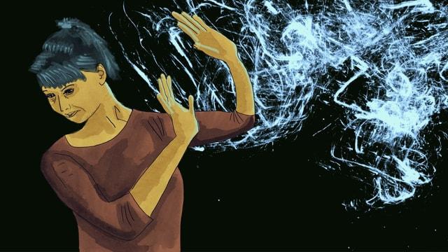 Illustration einer Frau, die mit den Händen ein undefinierbares weisses Wolkengebilde abwert.