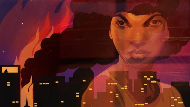 Eine Comiczeichnung zeigt eine Frau im Spiegel eines Fensters und vor dem Fenster eine brennende Stadt.