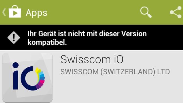 Fehlermeldung von «iO» im Play Store.