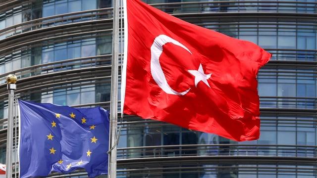 Fahnen der EU und der Türkei