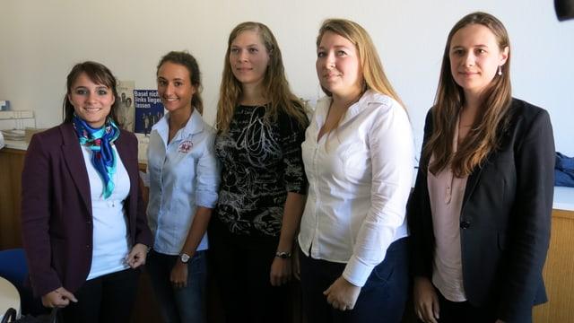 Fünf junge Frauen blicken stehend in die Kamera