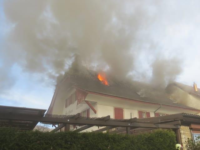 Brennender Dachstock, Flammen aus dem Dach, viel Rauch
